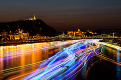 Budapest (ferenckobli) Tags: budapest bridge bridges danube duna lights light city capital ship ships