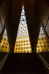 Staircase to interior courtyard (Raoul Pop) Tags: act building triangle reflection staircase city lattice structure berlin summer potsdamerplatz travel technology germany architecture object descriptor europe exposure time trip de