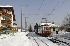 Telfes - STB 3 (peter.velthoen) Tags: tram hotel sky train road building snow strasenbahn bahnhof telfes tyrol telfesimstuba stb3 1000mm