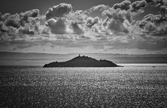 Firth of Forth Edinburgh Scotland 5th September 2018 (loose_grip_99) Tags: scotland forth uk water north sea scenery landscape waterscape island blackwhite noiretblanc contrejour contrajour shadows light clouds september 2018 inchkeith edinburgh
