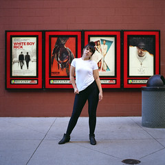 At The Movies (lancekingphoto) Tags: movies cinema model marketsquare downtown knoxville tennessee thesouth movieposters actress bronicasq zenzanon80mm fujireala100 expiredfilm unicolor 120film mediumformat regalcinema