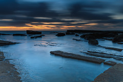 A Moody Blue Dawn Seascape (Merrillie) Tags: daybreak theskillion nature australia terrigal rocky morning sea waterscape newsouthwales rocks earlymorning nsw coast landscape ocean dawn cloudy sunrise coastal clouds outdoors seascape waves centralcoast water sky