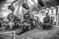 Smoke, Steam and Soot (photofitzp) Tags: atmosphere flyingpig lms locomotives midlandcompound railways smoke steam uksteam barrowhillroundhouse black white blackandwhite
