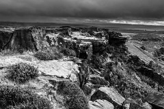 Along the Edge - Curbar #2 (gavsidey) Tags: curbar edge black white rocks derbyshire clouds