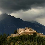 The castle ruin Ehrenberg by thunderstorm thumbnail