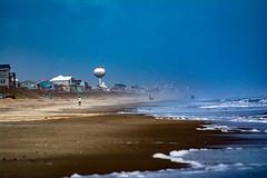 long walk along the shore (Shawn Blanchard) Tags: walk shore beach banks water sea ocean blue sky clouds watertower buildings bogue north carolina nc carteret county sand mist