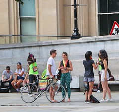 Trafalgar Square Tourists (Waterford_Man) Tags: london barefoot bare girl midriff hot candid