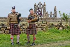 Pipers at Whitby Abbey (amhjp) Tags: whitbywarweekend reenactment reenactmentweekend reenactmentevents reenactmentevent reenactors reenactor war ww2reenactment ww2 wwll warweekend wartime worldwar2 wwii wartimeweekend yorkshire whitby piper bagpipes abbey historical historic heritage history historyliving livinghistory livinghistoryweekend livinghistoryevents