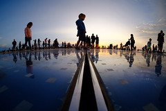 Greeting to the sun (The Green Album) Tags: zadar croatia greeting sun solar led lights disco floor people sunset fujifilm