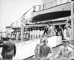 President Roosevelt leaving U.S.S. Target at Jacksonville at conclusion of a fishing trip in March, 1935. (polkbritton) Tags: harrisewing vintagefashion fdr floridahistory ships usnavy 1930s libraryofcongresscollections