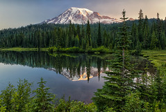 Morning at Reflection Lake (Philip Kuntz) Tags: reflectionlake reflections stevencanyonroad mtrainier volcano sunrise dawn daybreak morning mtrainiernationalpark washington