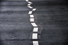Trying to stay on course (Maerten Prins) Tags: road tarmac line dots sign straight