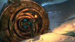 Raina at Septimus Signus Outpost (Rain Love AMR) Tags: skyrim pc gaming screencap screenshot lockbox dwemer dwarven snow torch bosmer woodelf elven armor