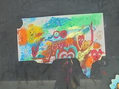 936 (en-ri) Tags: love disegno poster manifesto faccine faces sorrisis msiles firenze wall muro graffiti writing giallo arancione bianco verde azzurro albero tree