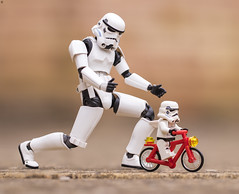 First Bike Ride (Jezbags) Tags: first bike ride stormtrooper stormtroopers trooper troopers babytrooper lego legos toy toys shfiguarts actionfigure minifigure canon canon80d 80d 100mm closeup upclose macro macrophotography macrodreams macrolego starwars bicycle