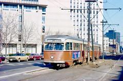 MBTA PCC 3069+1 OB HuntingtonAve at HarvardMedicalSchool Dec1976 (ironmike9) Tags: transit publictransit bostonma track rail lightrail mbta tram streetcar trolley pcc