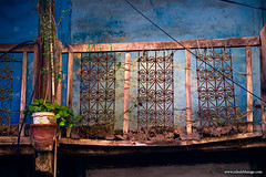 An old Balcony (bnilesh) Tags: architecture antique balcony blue green indore old plant rusted texture traditional wall weathered wood