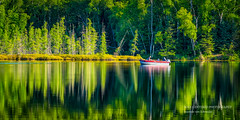 Gone Fishing (susannevonschroeder) Tags: audielake bluehills boat panorama reflection summer trees