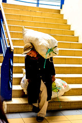 *** (klauslang99) Tags: streetphotography klauslang man carrying cargo bail steps cuenca ecuador person