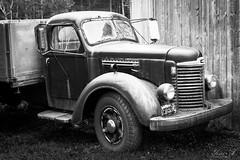 Old Truck (Yosri Al-Kishawi) Tags: truck old derelict bw antique wheels grill headlights pickup farm barn