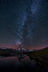 Lake stellisse - Milky way over Matterhorn - Switzerland (Palnick) Tags: matterhorn switzerland alps landscape mountain swiss travel zermatt tourism nature peak europe panorama sky scenery rock snow ice climbing outdoor valais summit alpine vacation famous hiking cervino sunny destination white view zermattswitzerland matterhornsummer holiday lake scenic blue stone stellisee attraction glacier pyramid panoramic extreme top mountaineering adventure place background reflection night stars star