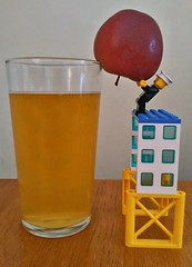 Harvesting in a hurry (T Macca) Tags: lego man apple fruit colours red yellow cider drink brown fun tabletop legobricks texture glass