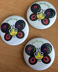 Perl 6 butterfly buttons (WendyGA) Tags: perl programming language buttons marketing swag
