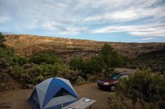 gorge campsite sunup (rovingmagpie) Tags: newmexico pilar orillaverderecreationarea orillaverde riograndegorge riogrande river rio summer2018 campsite redcar camping gorge tent