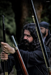 waiting (dim.pagiantzas   photography) Tags: waiting people character portrait man men actors cine cinematic cinema movies entertainment environment guns revolution historical history period old warriors heroes forest trees bokeh colors textures metal nature war