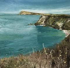 Ancient Paths Dinas - oil on board 40 x 40 cm available (www.sandragraham.co.uk) Tags: artartworkartistartistscontemporaryartcollectorstreambrookburnwaterflowingnaturepaintingartistsimpastopainting seascape sea britishart landscap landscape dinas wales pembrokeshire coastal path