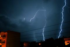 Thunderstuck (jimiliop) Tags: lightning weather night sky autumn city town neighborhood buildings clouds september rain thunder