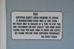 Antietam Dairy's super premium ice cream is manufactured right here at our store (afagen) Tags: waynesboro pennsylvania antietamdairy dairystore creamery icecream sign