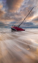 Danger - Beached As! (robjdickinson) Tags: water ocean boat ship sea beach watercraft sky wave coast landscape sand dawn outdoor transportation bodyofwater vessel shore floating morning cloud seashore horizon noperson