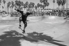 Venice Two Step (TheodoreWLee) Tags: california skatepark joshuatree nikond850 streetphotography palmtree bw skateboard venicebeach