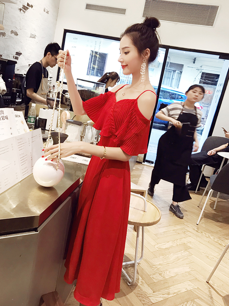 Shoulder length sash, big red dress, female summer 2018 new summer shoulder length Chiffon sexy skirt