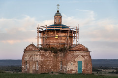 Old Church. (Oleg.A) Tags: grass penzaregion destroyed church nature orange summer tower twilight architecture cross wall village ruined saintnicolaschurch landscape sunset old brick outdoor rural evening countryside blue colorful ancient building cathedral russia dome sky materials exterior orthodox field staryakutlya