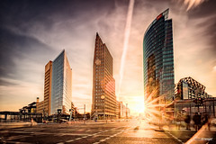 Sunset (Holger Glaab) Tags: berlin potsdamerplatz sunset skyscraper city urban sky sun buildings color colour architecture light