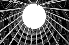 ° look up ° (christikren) Tags: austria architecture abstract blackwhite bw christikren garage parkgarage linescurves monochrome panasonic sw vienna wien lines perspective photography structure circle pov round sky geometry symmetry