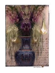 The Secret Life of Plants (jimlaskowicz) Tags: jimlaskowicz art flowers artistic impressionistic vintage painterly beetle vase flora arrangement plants