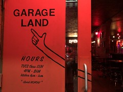 Spokane- Garage Land hipster hangout (Lynn Friedman) Tags: garageland hipster sign entrancedoor bar restaurant riverside spokane washington usa red