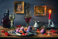 Still Life with Figs (memoryweaver) Tags: textured vintage fruit figs flame candlelight chamberstick candlestick candle rosehips pewter stilllife memoryweaver antiques paintingeffect dutchstyle