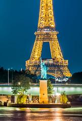 Liberty Tower blue hour (aurlien.leroch) Tags: france paris bluehour toureiffel eiffeltower nikon cityscape statuedelaliberté statueofliberty seine night gold