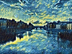 Florence by Van Gogh (pepe50) Tags: pontevecchio firenze florence 2018 vangogh vincentvangogh pepe50 arno lungarno tuscany italy travel leisure paint painting river oldbridge sunset tramonto water sky art arte