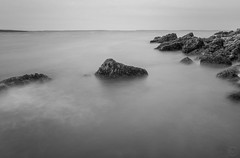 Ghosts III ({Brinkervelt}) Tags: bassheadlighthouse maine mtdesertisland waves movement blackandwhite bw blackwhite monochrome seascape moody overcast coast coastline outdoors outside rocks rocky nd 10stop shutter exposure sea rock sky water ocean bay landscape acadia
