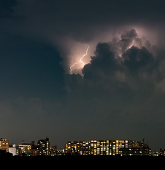Summer storm (tokyobogue) Tags: tokyo japan arakawa riverbank river nikon nikond7100 d7100 sigma sigma1750mmexdcoshsm summer storm lightning weather clouds electricity night longexposure