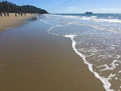 Ocean liner visiting - Port Douglas (Marian Pollock) Tags: portdouglas beach iphone australia sea waves waterscapes shoreline qld queensland sunny sunshine fourmilebeach people oceanliner ship visiting walkers shallows