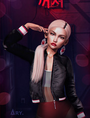 Dare (Ary McAuley) Tags: sl second life fashion blog outfit dark room red neon light blonde pony lips lipstick black eyeliner bomber jacket shiny seethrough dress silver earrings jewellery ruby rings girl woman avaway vive nine cynful chicchica boldbeauty michan studio exposure arte mandala belleposes anxiety varonis uber fameshed vanity kustom9 catwa