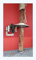 cogs (overthemoon) Tags: switzerland suisse schweiz svizzera romandie vaud montreux hotel tralala red winepress wood metal cogs frame machinery rope phone