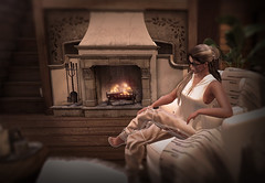 autumn at home (Shaya Muse Ishtari) Tags: life second secondlife world game virtual 3d mesh sculpt avatar body face house home indoor living room light shadow fire fireplace shaya chair