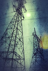 Power Tower in Moonlight (2n2907) Tags: power tower truss structure high voltage tension expired film analog canon ae1 fdn 50mm f18 light leak